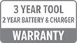 Warranty: 3 Year Tool, 2 Year Battery & Charger
