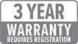 Warranty: 3 Year (requires registration)