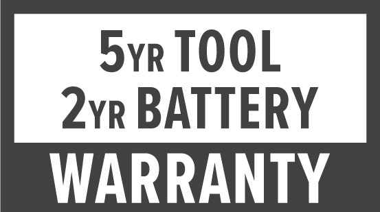 Warranty: 5 Year Tool & 2 Year Battery