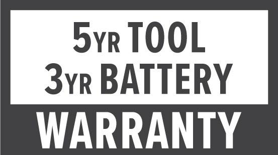Warranty: 5 Year Tool & 3 Year Battery