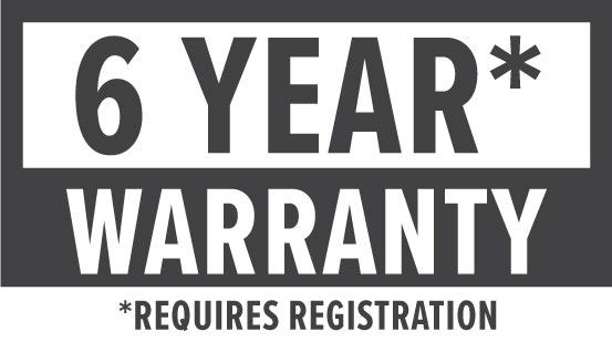 Warranty: 6 Year (requires registration)