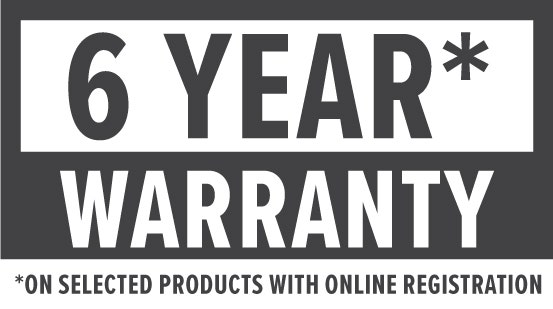 Warranty: 6 Year warranty on selected products with online registration