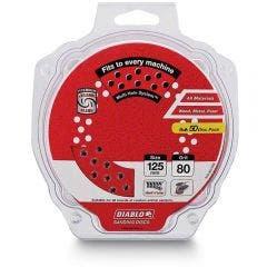 DIABLO 125mm 80-Grit Multi-Hole Hook & Loop Sanding Disc - 50 Piece