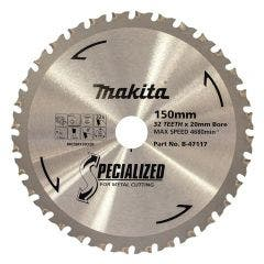 MAKITA 150mm 32T TCT Circular Saw Blade for Metal Cutting - SPECIALIZED