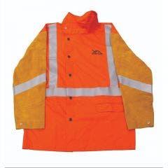 UNIMIG Hi-Vis Flame Retardant Welding Jacket with Leather Sleeves XXL UMWJ2730XXL