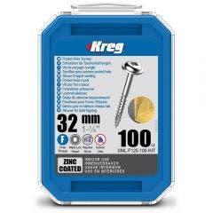 KREG Pocket Hole Screws Fine Zinc 32mm - 100 Piece KR-SMLF125-100