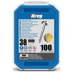 KREG Pocket Hole Screws Fine Zinc 38mm - 100 Piece KR-SMLF150-100