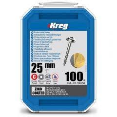 KREG Pocket Hole Screws Coarse Zinc 25mm - 100 Piece KR-SMLC1-100