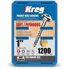 KREG Pocket Hole Screws Coarse Zinc 25mm - 1200 Piece KR-SMLC1-1200