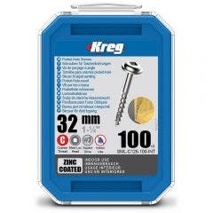 KREG Pocket Hole Screws Coarse Zinc 32mm - 100 Piece KR-SMLC125-100