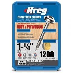 KREG Pocket Hole Screws Coarse Zinc 32mm - 1200 Piece KR-SMLC125-1200