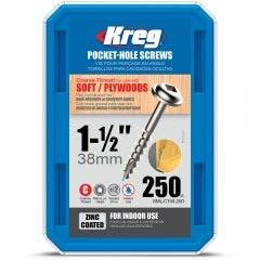 KREG Pocket Hole Screws Fine Zinc 32mm - 100 Piece KR-SMLC150-250