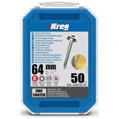 KREG Pocket Hole Screws Coarse Zinc 64mm - 50 Piece KR-SMLC250-50