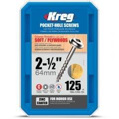 KREG Pocket Hole Screws Fine Zinc 38mm - 1200 Piece KR-SMLC250-125