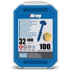 KREG Pocket Hole Screws Coarse Blue-Kote 32mm - 100 Piece KR-SMLC125B-100