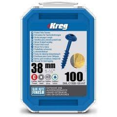 KREG Pocket Hole Screws Coarse Blue-Kote 38mm - 100 Piece KR-SMLC150B-100
