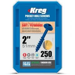 KREG Pocket Hole Screws Coarse-Thread Zinc 32mm - 500 Piece KR-SMLC2B-250