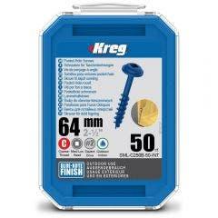 KREG Pocket Hole Screws Coarse Blue-Kote 64mm - 50 Piece KR-SMLC250B-50