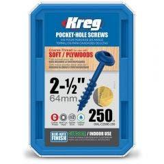KREG Pocket Hole Screws Coarse Blue-Kote 64mm - 250 Piece KR-SMLC250B-250