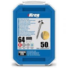 KREG Pocket Hole Screws Coarse Stainless Steel 64mm - 50 Piece KR-SMLC250S5-50
