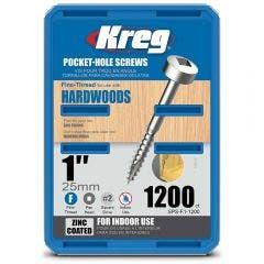 KREG Pocket Hole Screws Fine Pan Head Zinc - 1000 Piece KR-SPSF1-1200