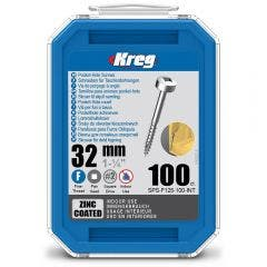 KREG Pocket Hole Screws Fine Pan Head Zinc 32mm - 100 Piece KR-SPSF125-100
