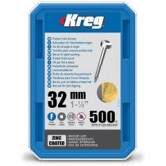 KREG Pocket Hole Screws Fine Pan Head Zinc 32mm - 500 Piece KR-SPSF125-500