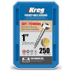 KREG Pocket Hole Screws Coarse Pan Head Zinc 25mm - 250 Piece KR-SPSC1-250