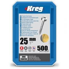 KREG Pocket Hole Screws Coarse Pan Head Zinc 25mm - 500 Piece KR-SPSC1-500