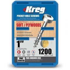 KREG Pocket Hole Screws Coarse Pan Head Zinc 25mm - 1200 Piece KR-SPSC1-1200