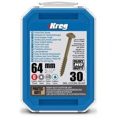 KREG Pocket Hole Screws Coarse HD 64mm - 30 Piece KR-SMLC2X250-30