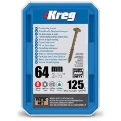 KREG Pocket Hole Screws Coarse HD 64mm - 125 Piece KR-SMLC2X250-125