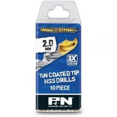 P&N WORKSHOP 2.0 x 49mm HSS-TiN Jobber Drill Bit - 10 Piece