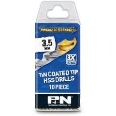 P&N WORKSHOP 3.5 x 70mm HSS-TiN Jobber Drill Bit - 10 Piece