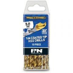 P&N WORKSHOP 5.0 x 86mm HSS-TiN Jobber Drill Bit - 10 Piece