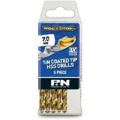 P&N WORKSHOP 7.0 x 109mm HSS-TiN Jobber Drill Bit - 5 Piece