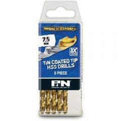P&N WORKSHOP 7.5 x 109mm HSS-TiN Jobber Drill Bit - 5 Piece