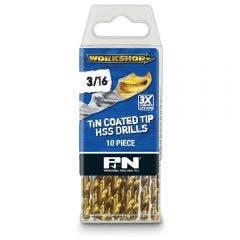 P&N WORKSHOP 3/16inch x 89mm HSS-TiN Jobber Drill Bit - 10 Piece