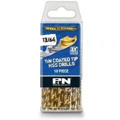 P&N WORKSHOP 13/64inch x 92mm HSS-TiN Jobber Drill Bit - 10 Piece