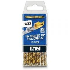P&N WORKSHOP 7/32inch x 95mm HSS-TiN Jobber Drill Bit - 10 Piece