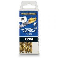 P&N WORKSHOP 1/4inch x 101mm HSS-TiN Jobber Drill Bit - 5 Piece