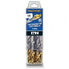 P&N WORKSHOP 1/2inch x 152mm HSS-TiN Jobber Drill Bit - 5 Piece