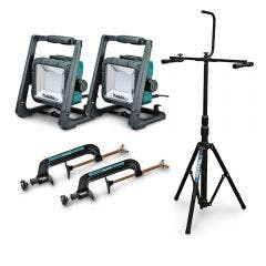 MAKITA 18V Mobile LED Work Light with Tripod and 2 Clamps DML805X2