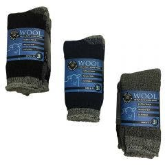 ROTTIE Workwear Socks 3Pk Wool Blend Heavy Duty Asst Colours Rottie Workwear RWWS610