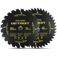 DETROIT 185mm 24/40T TCT Circular Saw Blade Set for Wood Cutting - 2 Piece