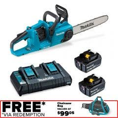 MAKITA 36V (18Vx2) Brushless 2 x 5.0Ah 350mm Chainsaw Kit DUC353PT2