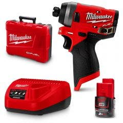 MILWAUKEE 12V Fuel 2.0Ah Li-Ion 1/4inch Cordless Hex Impact Driver Kit M12FID202C