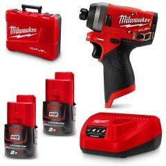 "MILWAUKEE 12V FUEL™ 2 x 2.0Ah Li-Ion 1/4"" Hex Impact Driver Kit M12FID202C"