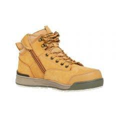HARD YAKKA Size 7.5 3056 Wheat Lace Zip Safety Boots Y60200WHE75