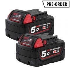 MILWAUKEE 18V 5.0Ah Red Lithium-Ion Dual Battery Pack M18B52